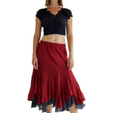 'Two Layer' Gypsy Renaissance Skirt - Burgundy/Gray - zootzu