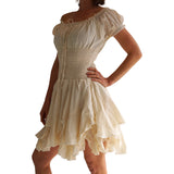 'Willow' Renaissance Gypsy Dress - Cream - zootzu