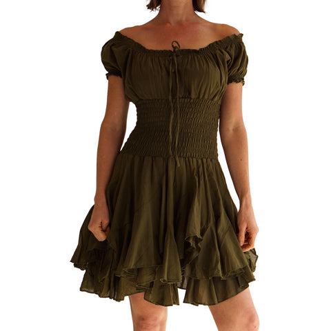 'Willow' Renaissance Gypsy Dress - Fern Green