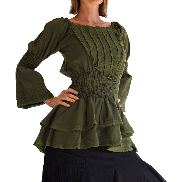 'Grace' Womens Steampunk Shirt  - Fern Green - zootzu