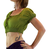 'SS Pull Tie' Gypsy Top - Apple Green - zootzu
