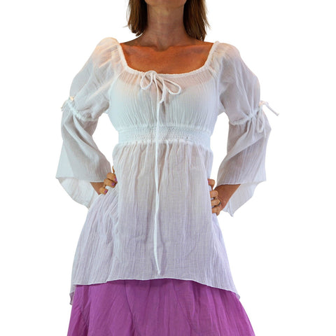 'Juliet' Pirate Chemise - White