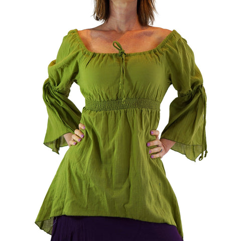 'Juliet' Pirate Chemise - Apple Green