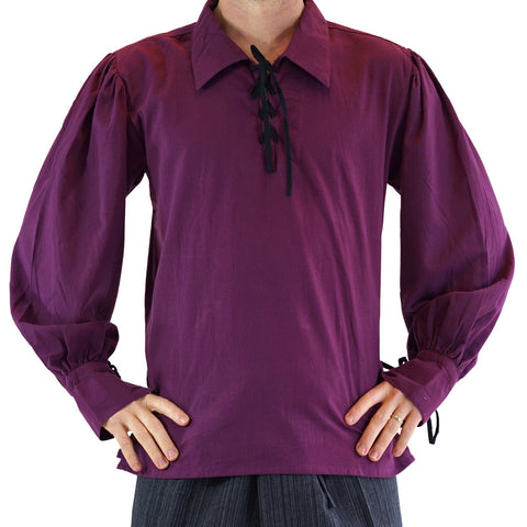 'Merchant' Renaissance Shirt - Wine Purple