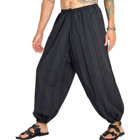 Baggy Pirate Pants - Striped Black