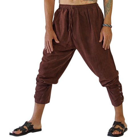 Ankle Cuff Medieval Pants - Stonewashed Brown