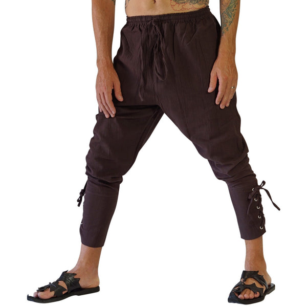 Ankle Cuff Medieval Pants - Brown - zootzu