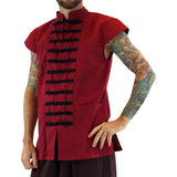 Naval 'Pirate' Vest - Plain Cotton - Red - zootzu