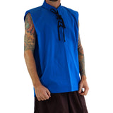 'Rogue' Medieval Sleeveless Shirt - Blue - zootzu
