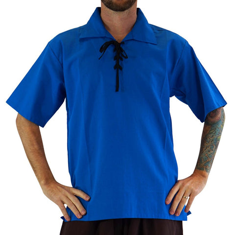 'Merchant' Renaissance Shirt, Short Sleeves - Royal Blue