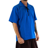'Merchant' Renaissance Shirt, Short Sleeves - Royal Blue - zootzu
