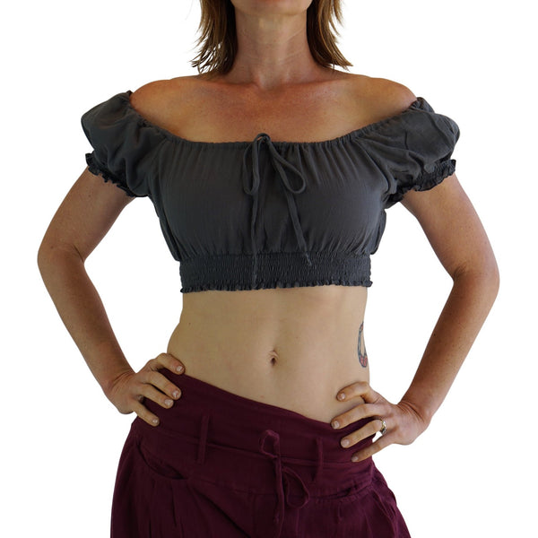 'SS Pull Tie' Gypsy Top - Gray - zootzu