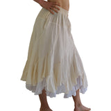 'Two Layer' Gypsy Renaissance Skirt - Cream/White - zootzu