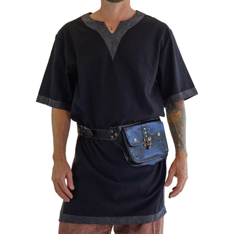 'Viking Shirt Short Sleeves' Tunic - Black