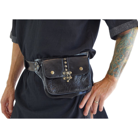 'Swing Latch' Leather Utility Belt  - Black