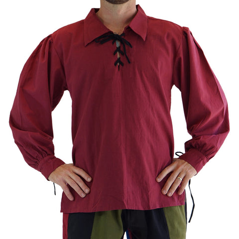 'Merchant' Renaissance Shirt - Burgundy Red