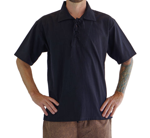 'Merchant' Renaissance Shirt, Short Sleeves - Black