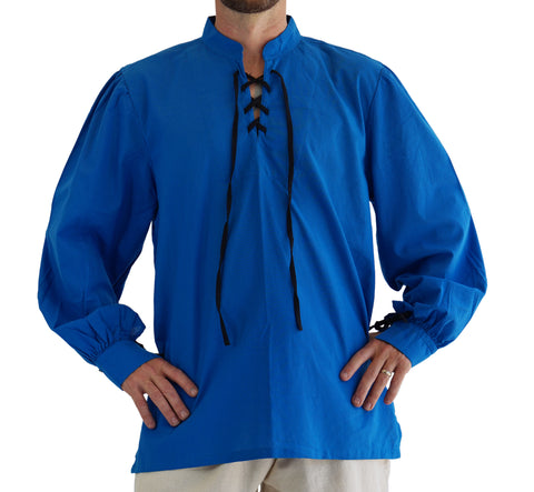 'Merchant' Renaissance Shirt with High Collar - Royal Blue