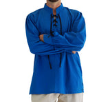 'Merchant' Renaissance Shirt with High Collar - Royal Blue - zootzu