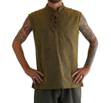 'Rogue' Medieval Sleeveless Shirt - Stone Green - zootzu