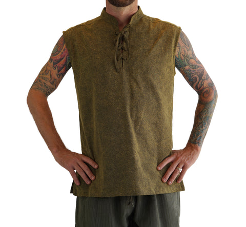 'Rogue' Medieval Sleeveless Shirt - Stone Green