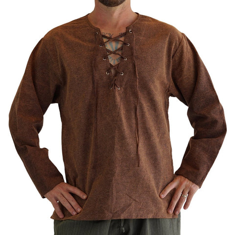 'Round collar' Medieval, Viking Shirt -  Stone Brown