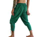 Ankle Cuff Medieval Pants - Emerald Striped Green - zootzu