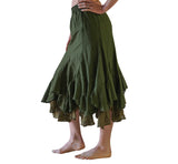 'Two Layer' Gypsy Renaissance Fairy Skirt - Dark Fern Green - zootzu