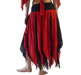 'Petal' Long Renaissance/Pirate Skirt - Black/Red - zootzu