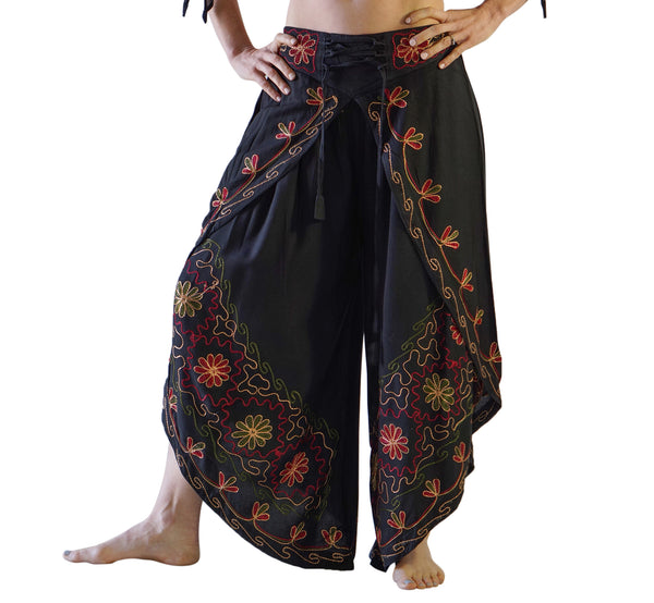 'Split' Indian Rayon Harem Pants - Black - zootzu