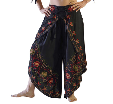 'Split' Indian Rayon Harem Pants - Black