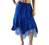 'Two Layer' Gypsy Renaissance Skirt - Blue/Light Blue - zootzu