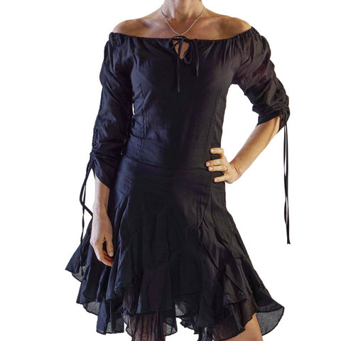'Bonny Dress' Womens Renaissance Gypsy Gown Pirate Costume - Black