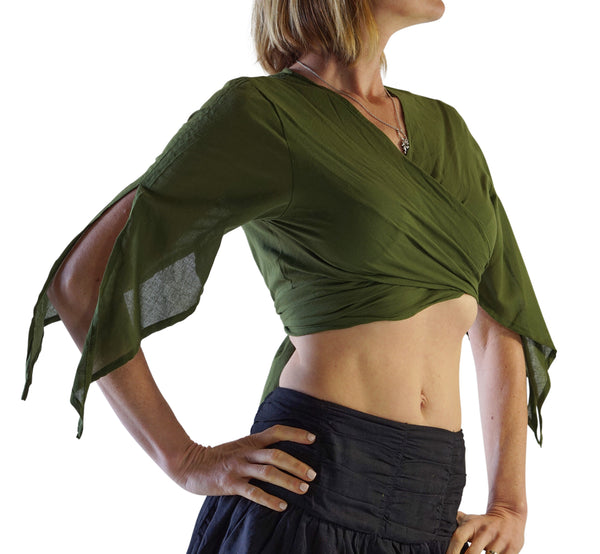 'Wrap Around Crop Top' Gypsy Pirate Shirt - Green - zootzu