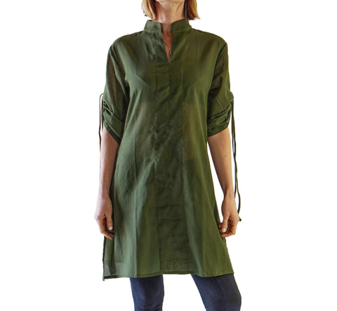 'Sage' Long Chemise, Womens Medieval Shirt - Fern Green