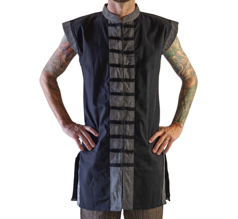 Long Pirate Vest - Black/Stone Black