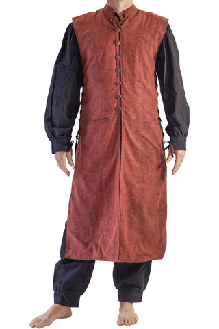 'Medieval Duster' Renaissance Festival Costume Doublet - Stonewashed Brown