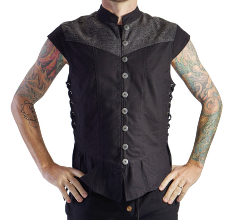 'Doublet' Medieval Vest, Scallop Bottom - Black/Gray