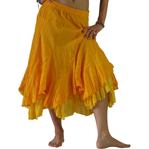 'Two Layer' Gypsy Renaissance Skirt - Yellow