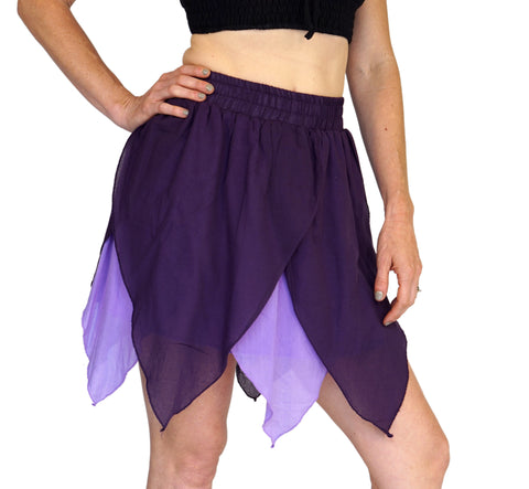 'Floating Petal Skirt' Fairy, Gyspy Clothing, Belly Dancer - Purples