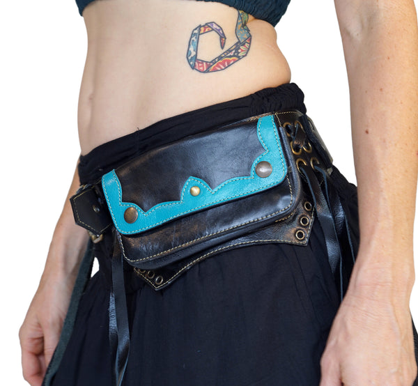 'Lill' - Boho Leather Utility Belt -  Black/Teal - zootzu