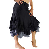 'Two Layer' Gypsy Renaissance Skirt - Black/Gray - zootzu