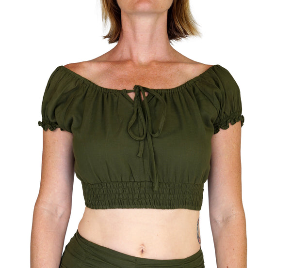 'Peasant Crop Top' Belly Showing Blouse - Green - zootzu