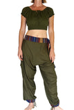 'Harem Pants' Rayon Gyspy Pants with belt - Green - zootzu
