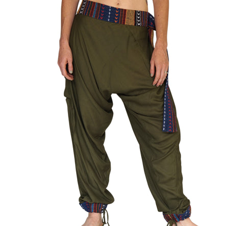 'Harem Pants' Rayon Pants with belt - Green
