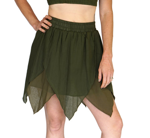 'Floating Petal Skirt' Fairy, Gyspy Clothing, Belly Dancer - Greens
