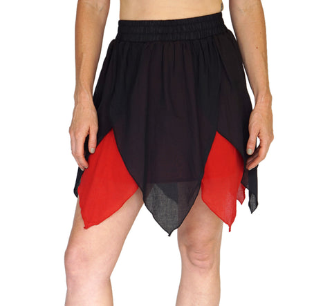 'Floating Petal Skirt' Fairy, Gyspy Clothing, Belly Dancer - Black/Red