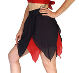 'Floating Petal Skirt' Fairy, Gyspy Clothing, Belly Dancer - Black/Red - zootzu