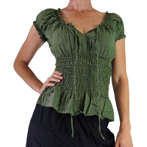 'SS Peasant Blouse, Chemise' - Fern Green