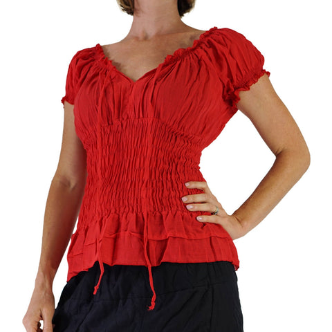 'SS Peasant Blouse, Chemise' - Red